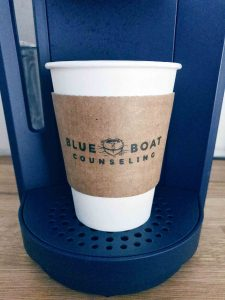 Blue Boat Counseling coffee station. Marriage counseling and treatment for anxiety, PTSD & teen depression in Columbus, OH.