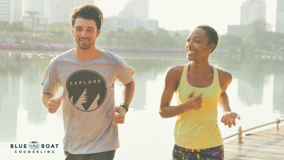 Couple exercising. Couples & marriage counseling Columbus, Ohio is available at Blue Boat Counseling in Worthington 43085.