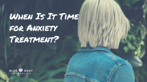 Back of blond girl. Learn the signs it's time to call for anxiety treatment Columbus, OH at Blue Boat Counseling, 43085.