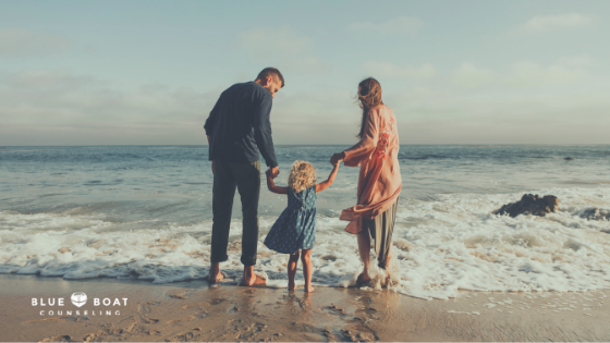 Family on the beach. Spend family time free from anxiety symptoms. Blue Boat Counseling offers anxiety treatment Columbus, OH