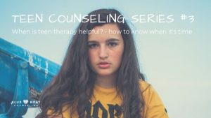 Teen girl in ACDC shirt. When is it time for teen therapy? Find teen counseling in Worthington, OH at Blue Boat Counseling.