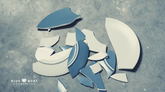 Broken plate. Find Columbus OH counseling for families and depressed teens at Blue Boat Counseling in Worthington.