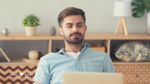 Man at computer | Find Columbus therapists in 2020 at Blue Boat Counseling in Worthington | anxiety treatment available