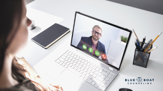 Therapist Columbus Ohio at Blue Boat Counseling offering telehealth due to anxiety around COVID-19 | March 2020