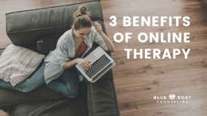 Girl on couch on computer | Benefits of online therapy during COVID-19 pandemic | Find online therapy at Blue Boat Counseling