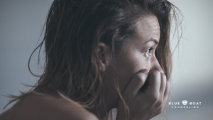 Woman crying | Find mental health therapy Ohio for anxiety due to COVID-19 at Blue Boat Counseling | 43085 | April 2020