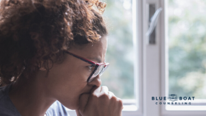 Stressed & worried woman | online counseling for anxiety and depression | Blue Boat Counseling Columbus Ohio | June 2020