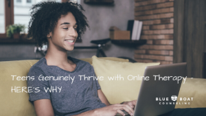 Teen boy on laptop | Ohio Online therapy for teen anxiety & depression | teen therapist Columbus Ohio | June 2020 | 43085