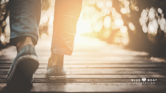 Feet walking in the sun | anxiety therapy Columbus | Blue Boat Counseling | online therapy Ohio | September 2020 | 43085