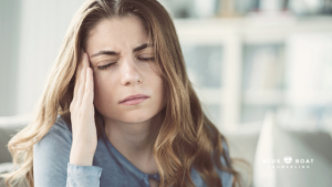 Stressed woman | anxiety therapy Columbus | online therapy Ohio for PTSD | Blue Boat Counseling | October 2020 | 43085