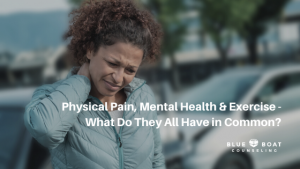 Woman in pain   chronic pain, mental health & exercise   online depression counseling Columbus   Blue Boat Counseling
