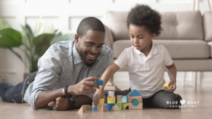 Dad & son playing blocks | family counseling columbus | depression therapist columbus | Blue Boat Counseling | December 2020