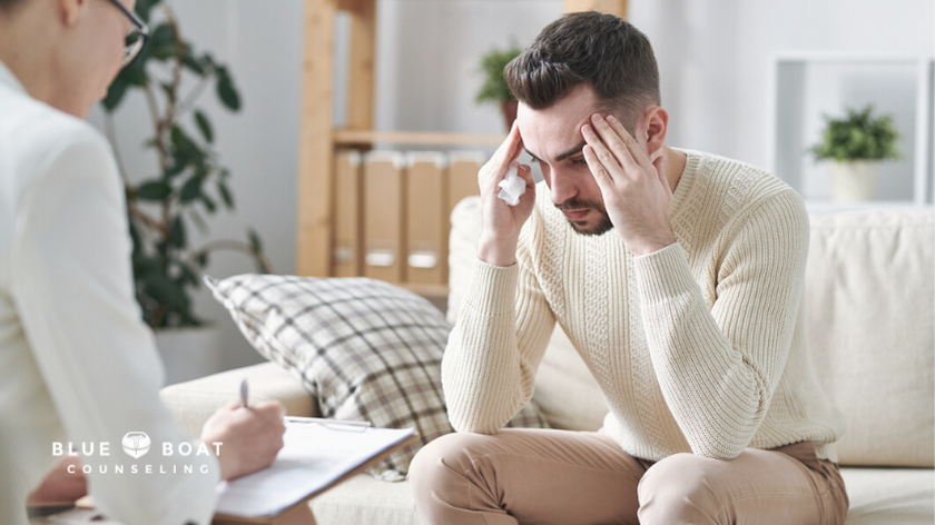 Anxious man in therapy | Find stress and anxiety therapy columbus ohio at Blue Boat Counseling | columbus therapists